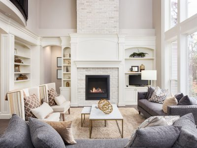 living room in newly constructed luxury home